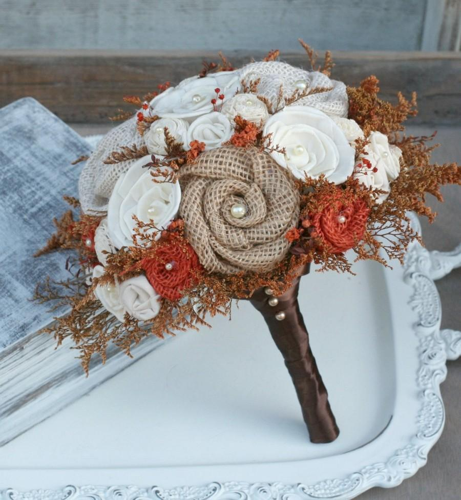 Hochzeit - Autumn Orange Wedding Bouquet // Autumn Wedding Flowers, Fall Bridal Bouquet, Sola Flower, Burlap, Dried Flower, Small Bride Bouquet