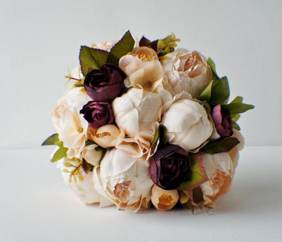 Свадьба - Peony Bridal Bouquet, Silk Wedding Flowers, Champagne Wedding Flowers, Vintage Wedding, Rustic Wedding Shabby Chic Wedding, Bride Bridesmade