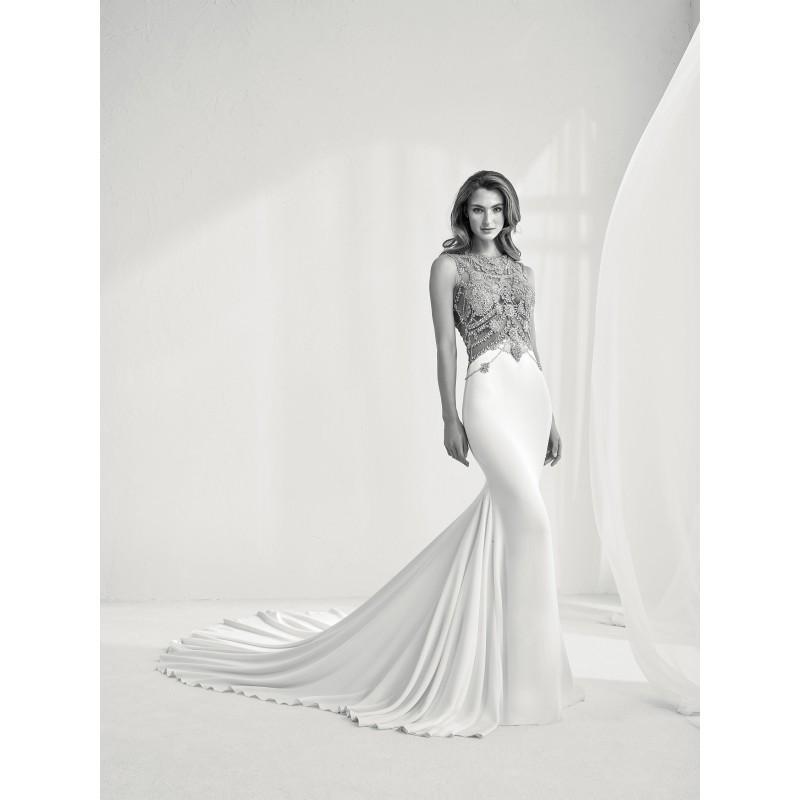 Свадьба - Pronovias 2018 RAMIR Vogue Chapel Train Ivory Bateau Fit & Flare Sleeveless Rhinestone Crepe Wedding Gown - Rolierosie One Wedding Store