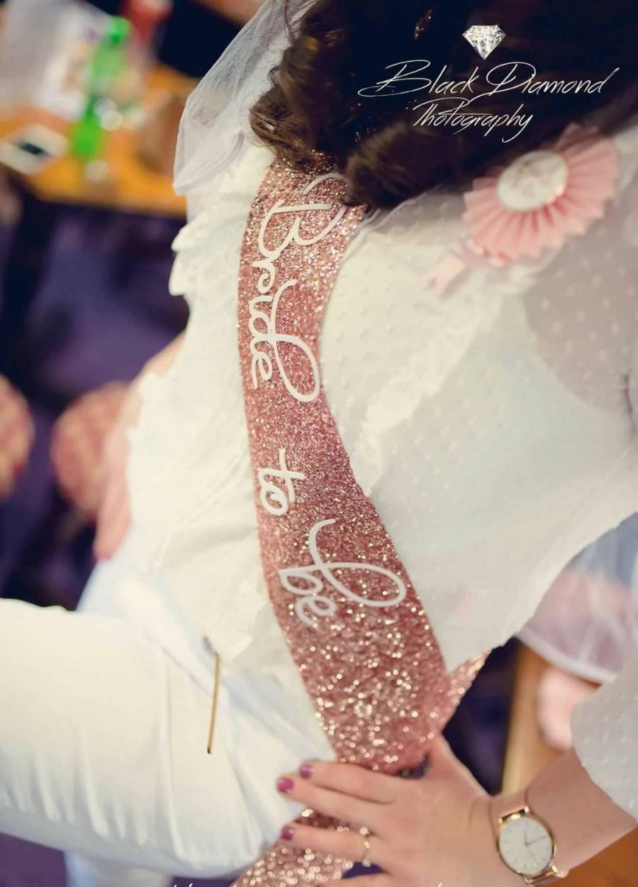 Mariage - Bride to be sash - Rose Gold Glitter Bridal Shower Sash - Hen Party Sash - Bachelorette - Bride to be  - Handmade - Accessory - Classy