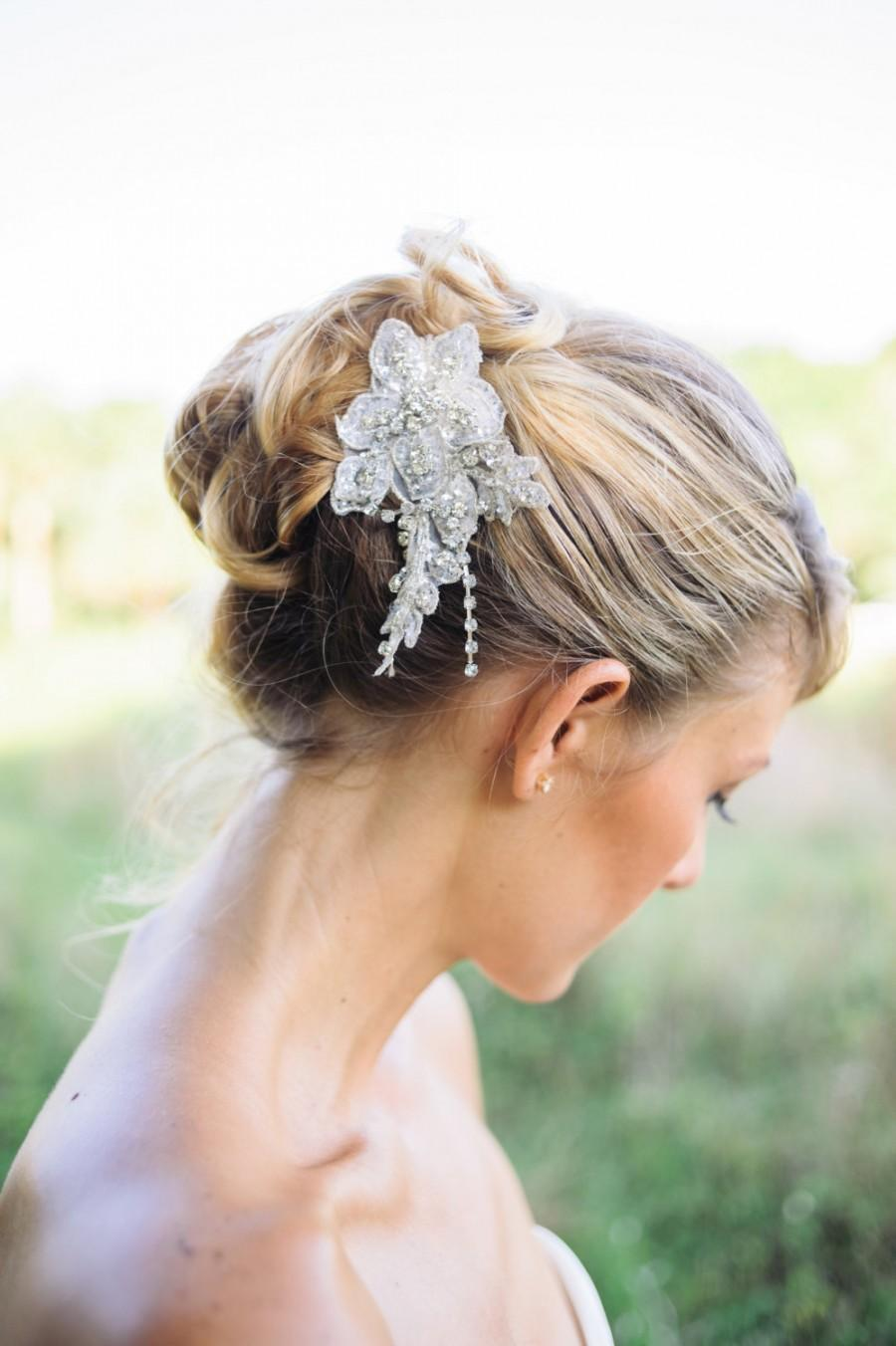 Свадьба - bridal hair comb , Crystal lace comb , wedding headpiece , CALEY
