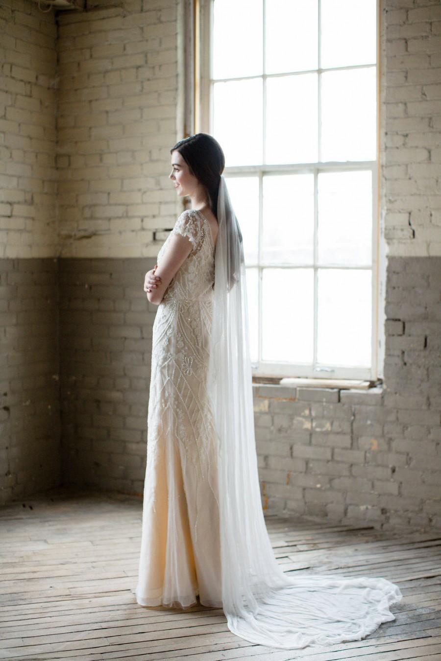 Свадьба - silk wedding veil, silk bridal veil, silk veil, silk mantilla, silk tulle veil, ivory wedding veil, fingertip veil, cathedral veil - SELENE