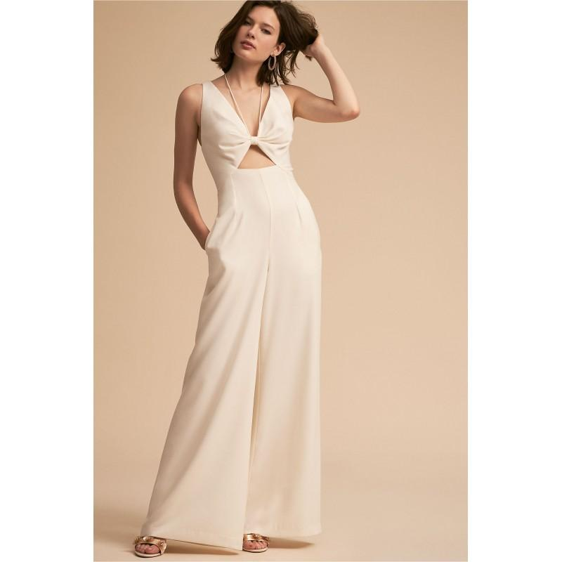 Wedding - BHLDN 2018 Bryant Ivory Pantsuit Floor-Length V-Neck Sleeveless Satin Zipper Up Spring Outdoor Dress For Bride - Color Your Classy Wardrobe