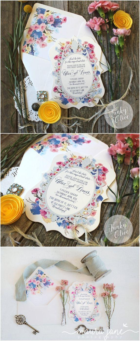 زفاف - Alice Mad Hatter Wedding Invitation Tea Party Die Cut Invite Floral Blue Pink Yellow Rehearsal Dinner Birthday Party Envelope Liner