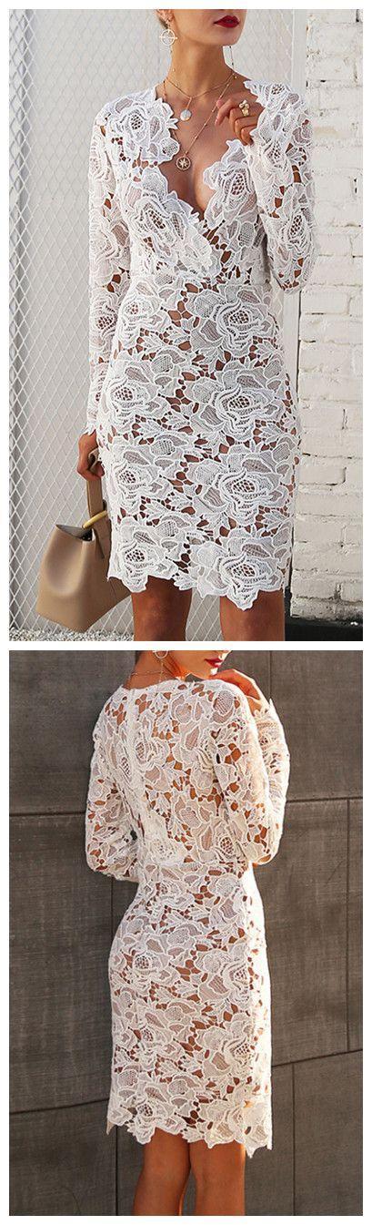 زفاف - Women's V Neck Long Sleeve Lace Bodycon Midi Dress - ROAWE.COM
