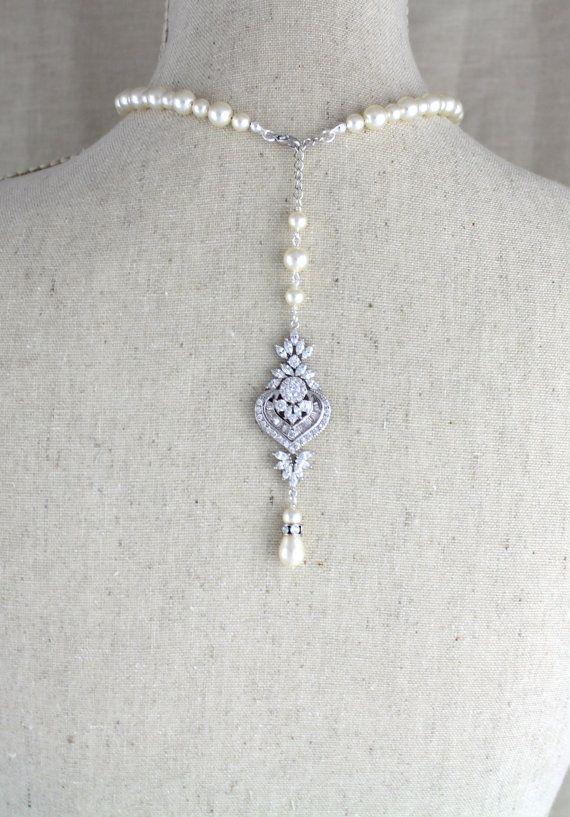 Wedding - Bridal Backdrop Necklace, Wedding Jewelry, Rose Gold Back Drop Necklace, Pearl Wedding Necklace, Crystal Necklace, Swarovski Necklace, EMMA
