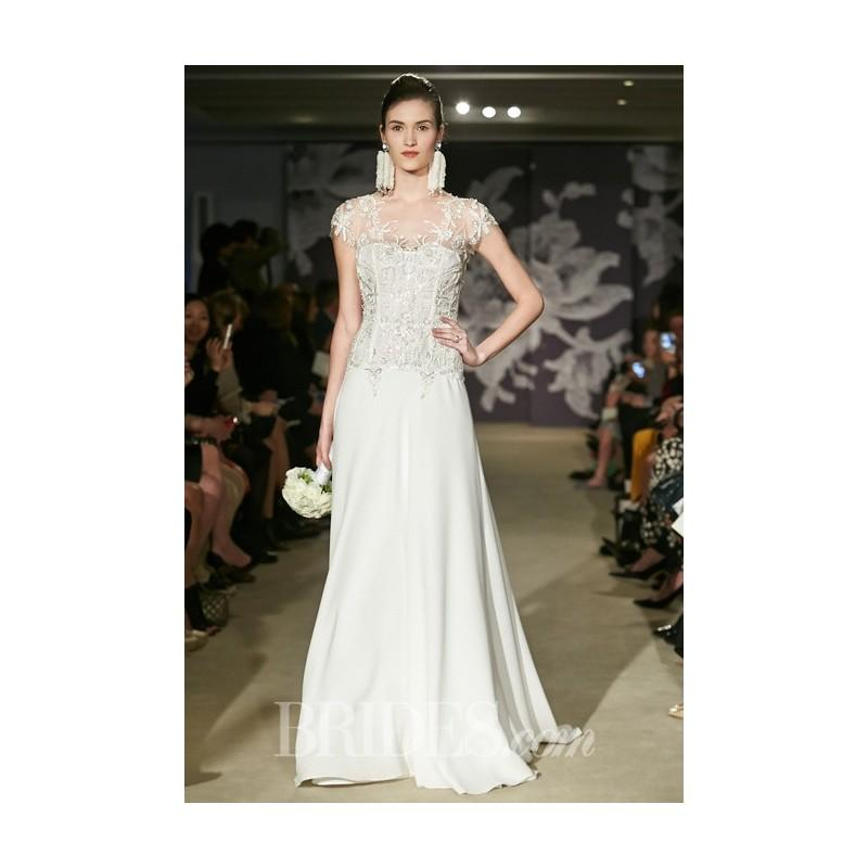 Boda - Carolina Herrera - Spring 2015 - Charlie Silk and Embroidered Lace Sheath Wedding Dress with Short Sleeves - Stunning Cheap Wedding Dresses