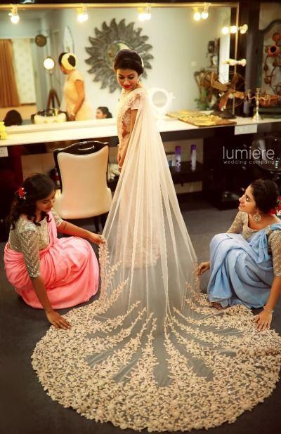 زفاف - Christian Wedding Saree With Train