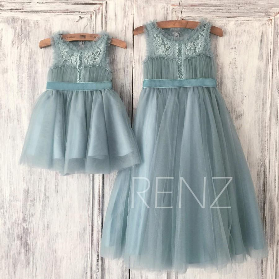 29d73ab0424 Dusty Blue Tulle Flower Girl Dress
