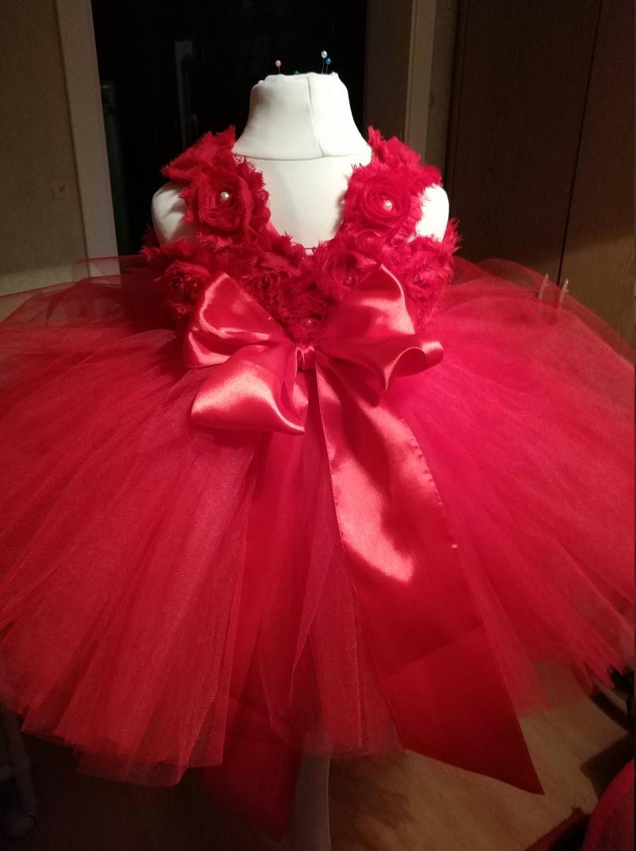 Red Flower Girl Dress Tulle Dress Christmas Dress Tutu Birthday Tutu ...