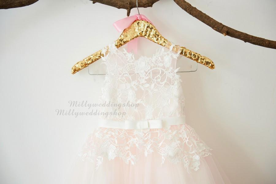 Mariage - Ivory Lace Light Pink Tulle Flower Girl Dress Wedding Bridesmaid Dress with Bow Belt  M0067