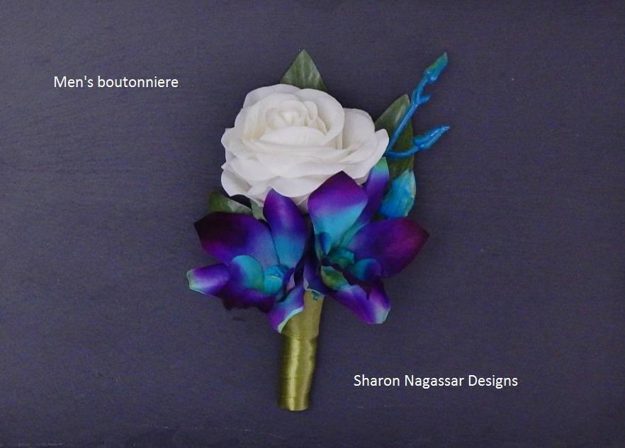 Mariage - Purple/aqua/turquoise/blue, bom/galaxy, orchid, buttonhole/boutonniere, dendrobium, silk/artificial, prom/wedding, Groom, Groomsmen, Bestman