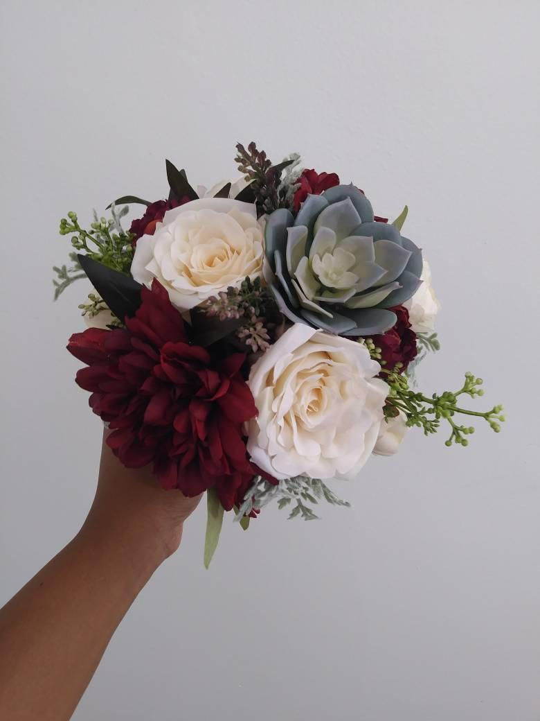 Bridesmaids Bouquets Wedding Bouquet Flowers Artificial Silk Flower Wine Cream Ivory Marsala Succulent