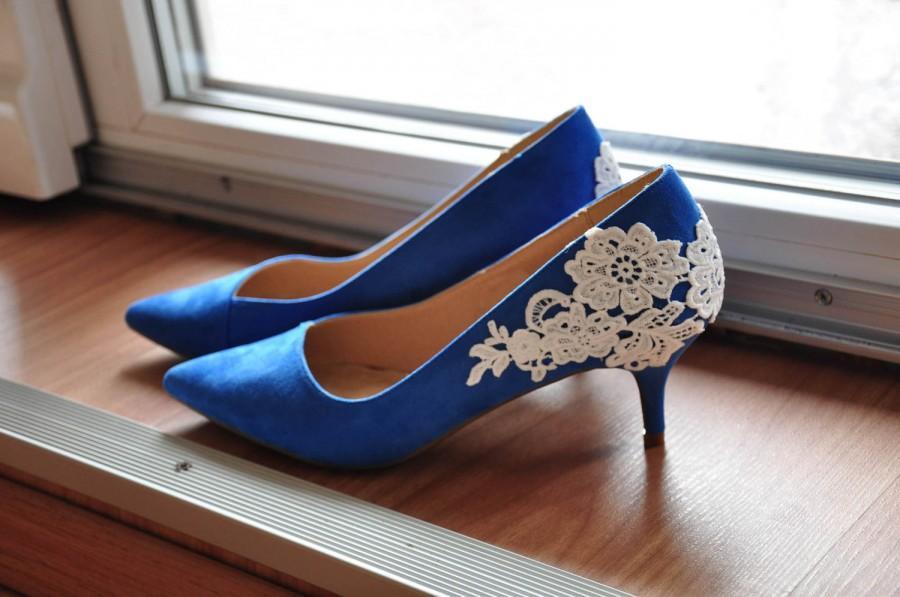 Wedding - Blue shoes blue wedding shoes blue low heels lace low heels pointy blue shoes wedding shoes blue bridal heels blue bridal shoes royal blue
