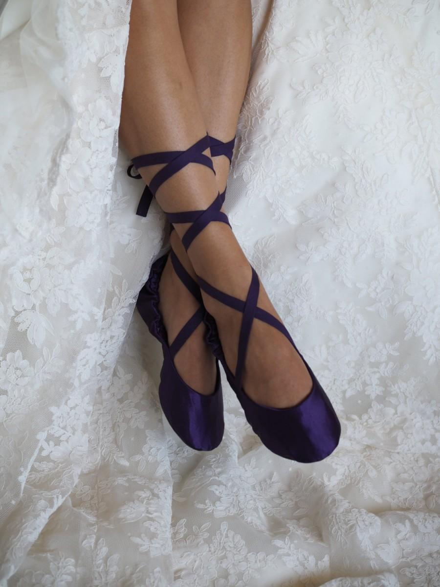 Purple Bridal Ballet Slippers, Plum Ballerina Wedding Slippers