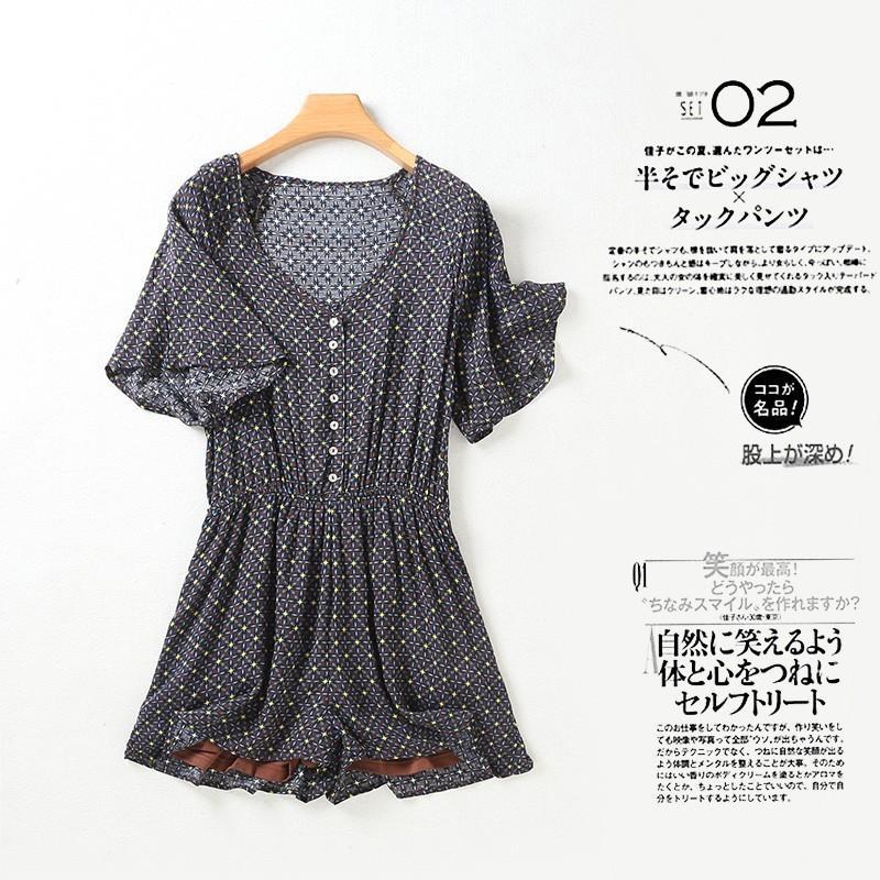 Casual Oversized Vintage Slimming Cotton Floral Jumpsuit Short