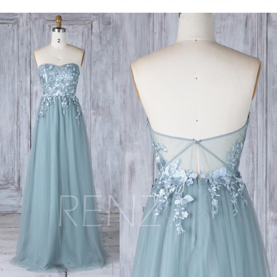 Wedding - Bridesmaid Dress Dusty Blue Tulle Wedding Dress with Lace Applique,Sweetheart Strapless Maxi Dress,Illusion Lace Low Back Prom Dress(LS339)