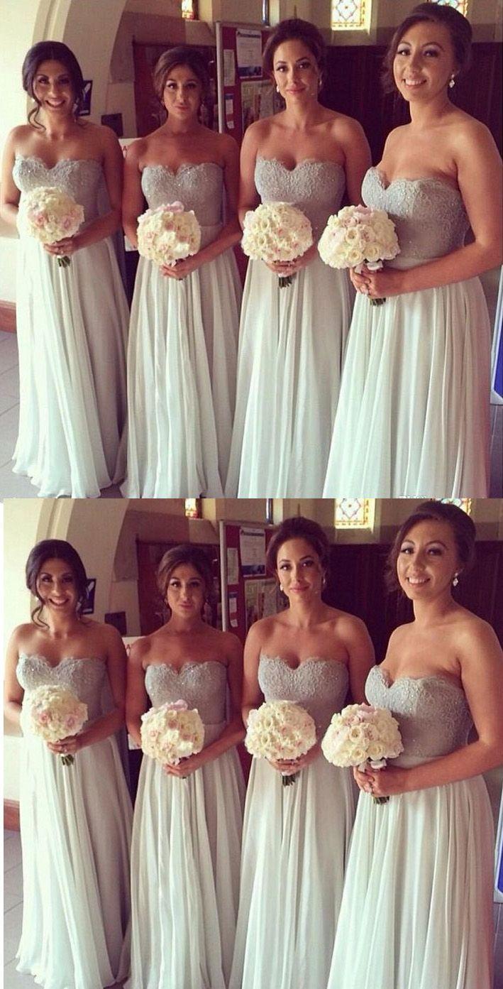 Mariage - Discount A-line/Princess Bridesmaid Dresses Long White Dresses With Zipper Applique Floor-length Light Bridesmaid Dresses WF02G55-791