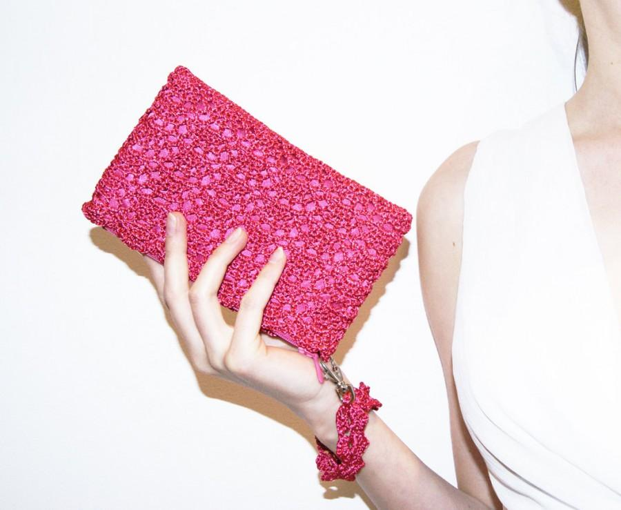 Свадьба - Bridesmaid Clutch Purse, Pink Bridal Shower Gift, Hands Free Clutch Bag, Lace Bridesmaid Purse, Bridesmaid Gift, Wedding Make Up Purse Bag