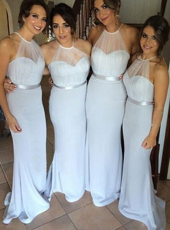زفاف - Sleeveless Bridesmaid Dress Long White Bridesmaid Dresses With Chiffon Zipper Belt/Sash/Ribbon Suitable Dresses WF02G53-66