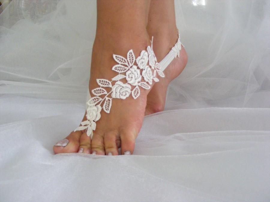 Свадьба - Barefoot Beach Sandals, Ivory/Rose Pink/White/Black/Salmon Pink Lace Barefoot Sandals, Beach Wedding Sandals, Embroidered Sandals