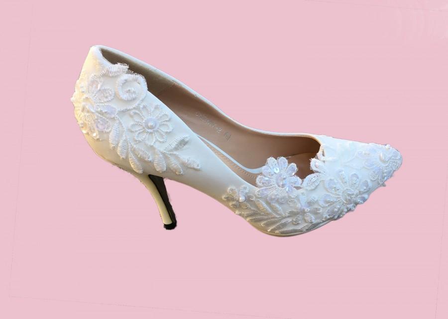 d88140479e6 Venice Lace, Pearl Bridal High Heels / Bridesmaid / Wedding Shoes ...