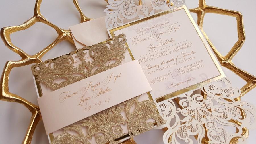 Wedding - Gold Laser cut wedding Invitation lace, Gold Glitter Wedding Invite sample, Gold and blush invitation wedding - Astral design