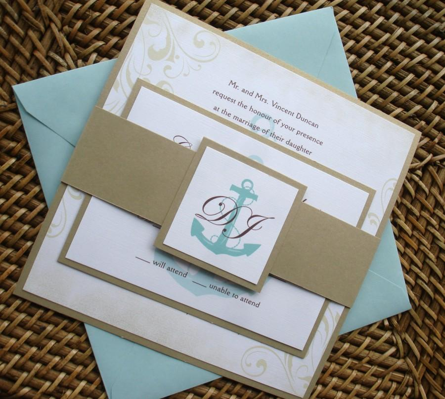 Anchor Wedding Invitation Set Nautical Wedding Invitations Vintage