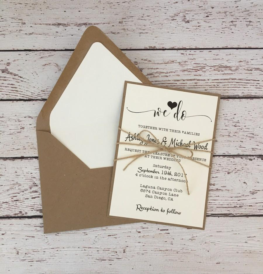 Rustic Wedding Invitation, Simple Wedding Invitation, Twine Wedding ...