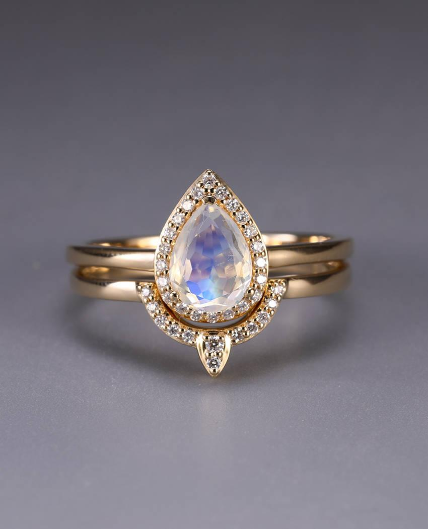 Moonstone Engagement Ring Vintage Curved Diamond Wedding Band Women