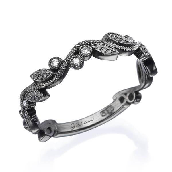 زفاف - Unique Leaf Diamond Wedding Band in 14k Black Gold- Wedding Ring, Woman Ring