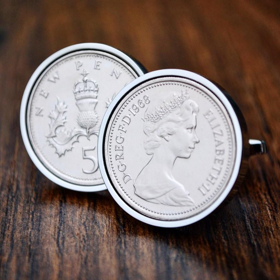 Mariage - 1968 Cufflinks Five Pence Coin Cufflinks Birth Year Cufflinks 5p Cufflinks Mens Gift 50th Birthday Cuff Links 50th Anniversary Present Dad