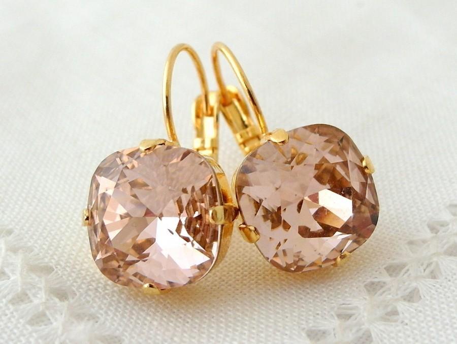 زفاف - Blush drop earrings,Blush Pink dangle earrings,Blush pink bridal earrings,blush pink bridesmids earring,Swarovski,blush pink wedding,crystal