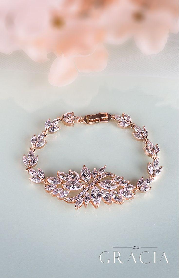 Mariage - ATHENA Rose Gold Crystal Bridal Bracelet