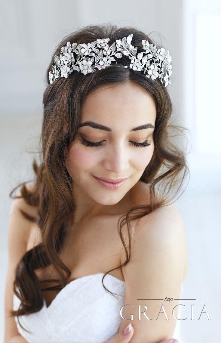 زفاف - EUNIKE Flower Leaf Bridal Tiara Crown For Wedding With Crystals
