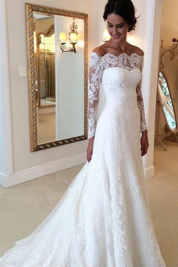 Свадьба - Cheap Ivory Vintage Long Sleeves Wedding Dresses,Off Shoulder Bridal Gown, PW123