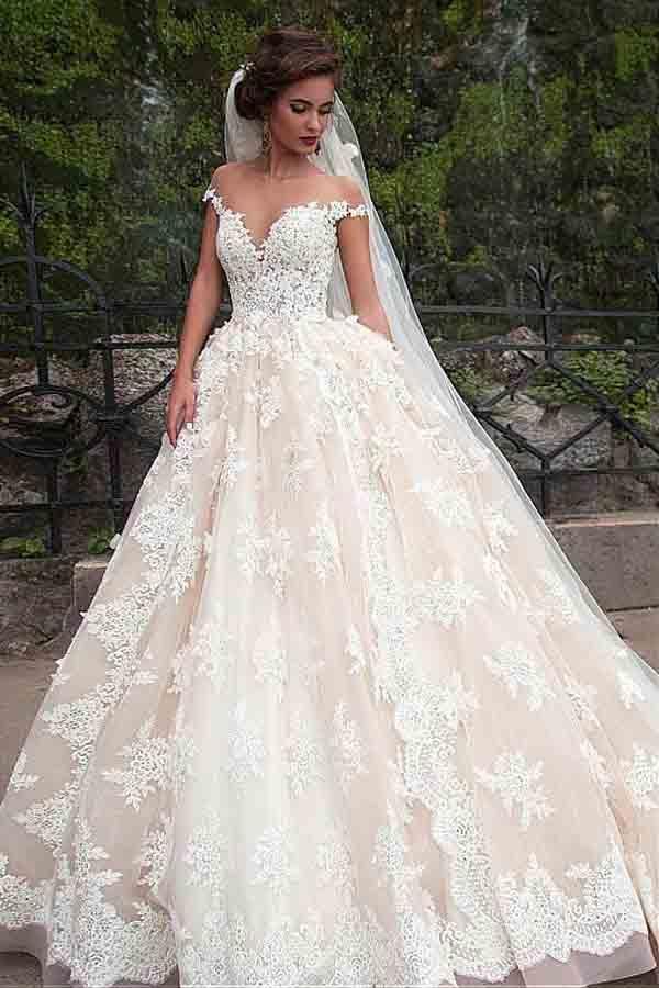 زفاف - Fantastic Tulle Bateau Neckline Ball Gown Wedding Dresses With Lace WD185