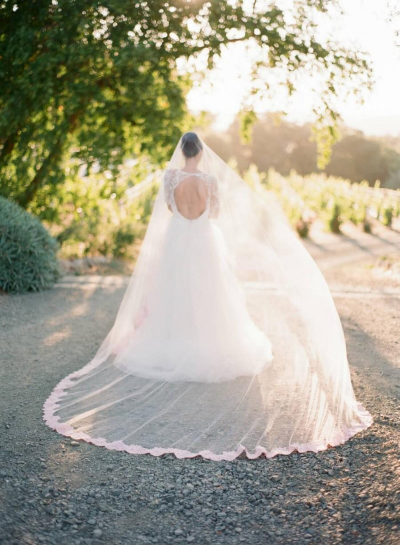Hochzeit - Bridal Veil, Veils, Blush Wedding Veil, Cathedral Veil, Wedding Veil, Mantilla Veil, Pink Lace Veil, OLIVIA Cathedral Veil, Pink Tulle Veil