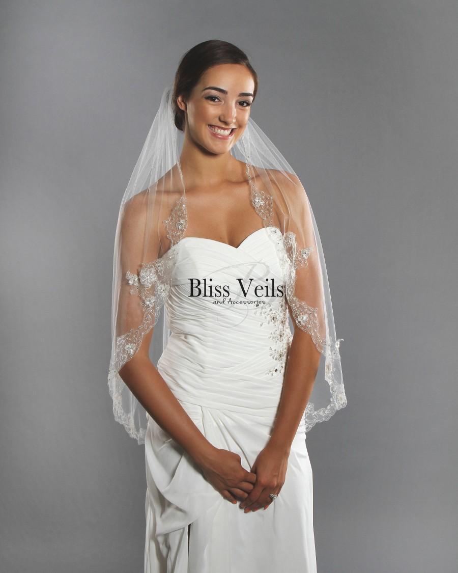 Hochzeit - Fingertip Wedding Veil - Beaded Veil - 1 Tier Veil - Ivory Fingertip Veil - Diamond White Fingertip Veil, Fast Shipping!