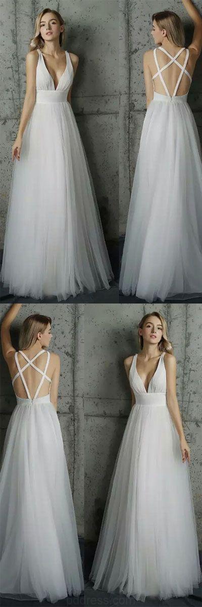 Свадьба - Custom Made Comely 2018 Prom Dress Simply V Neck White Tulle Long Prom Dress