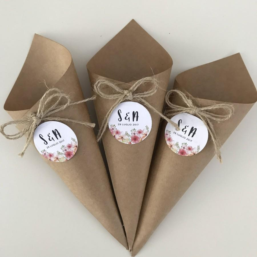 زفاف - Custom door rice cones in Kraft paper