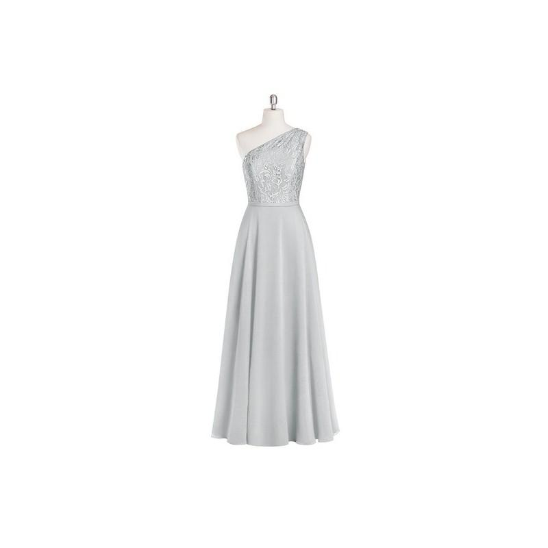 زفاف - Silver Azazie Simone - Chiffon And Lace One Shoulder Back Zip Floor Length Dress - Charming Bridesmaids Store
