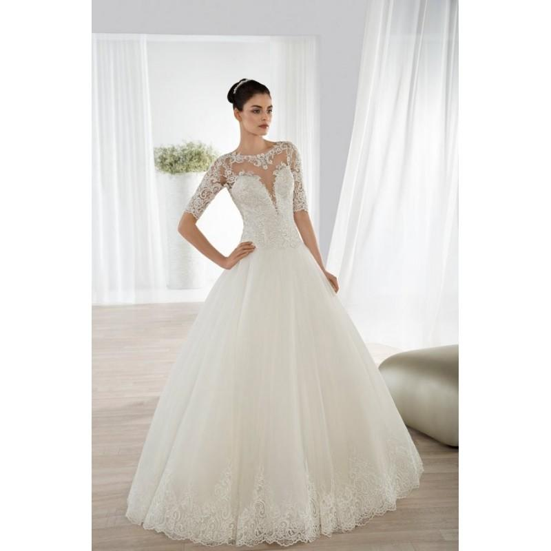 Свадьба - Style 644 by Ultra Sophisticates by Demetrios - Ballgown LaceTulle Illusion Chapel Length 3/4 sleeve Floor length Dress - 2018 Unique Wedding Shop