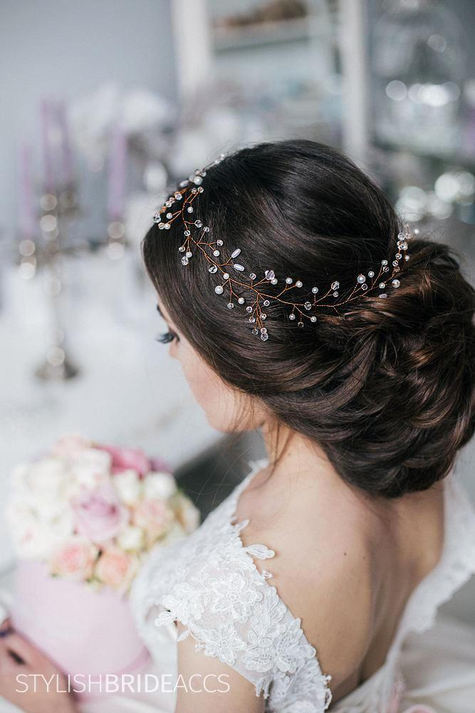 Mariage - Rose Gold wedding hair vine, Wedding hair accessoriesb Bridal pearl hair vine Wedding hair piece Wedding hair vine