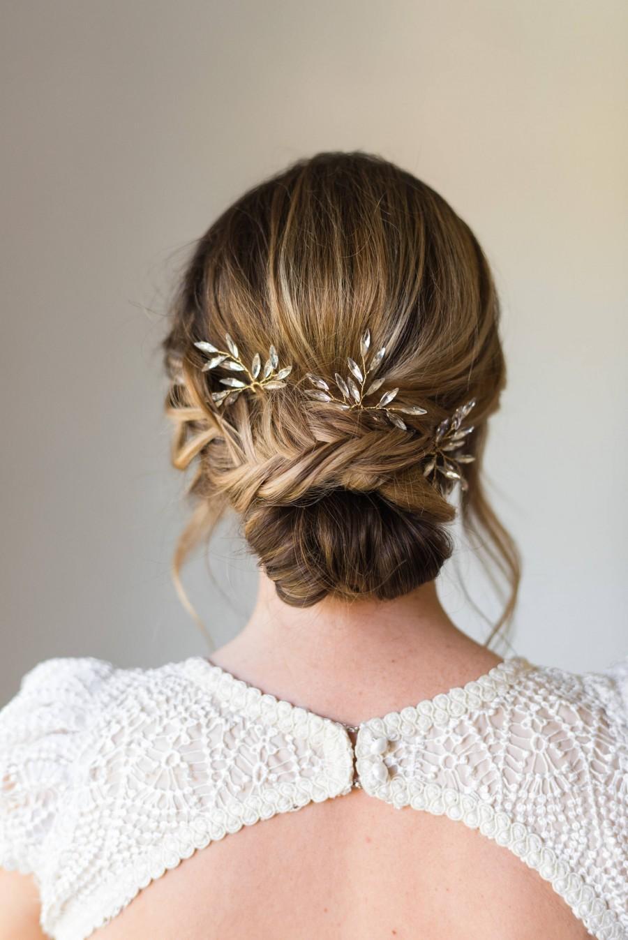 Hochzeit - Branch Hair Pins Bridal Hair pins crystal hair pins wedding hair pins wedding headpiece branch hair pins bridal headpiece #161
