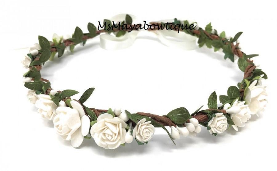 Свадьба - White flower crown, flower girl crown, flower crown toddler, flower girl headband, flower heapiece, first holy communion flower crown
