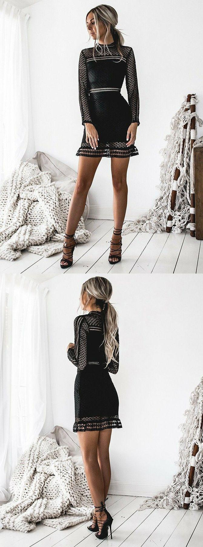 Свадьба - Sheath High Neck Long Sleeves Short Black Hollow Lace Homecoming Dress