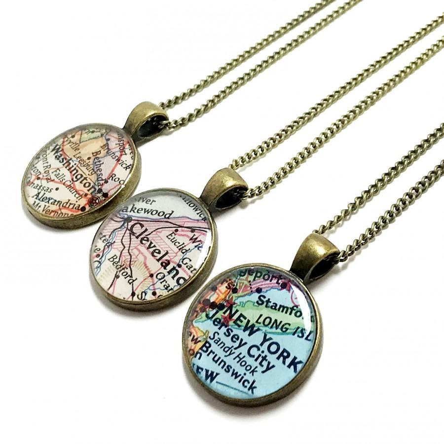 Custom vintage map necklace you select location anywhere in the custom vintage map necklace you select location anywhere in the world one necklace map jewelry personalized gifts for women birthday gumiabroncs Choice Image