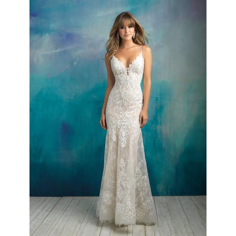 Wedding - Allure Bridals Spring/Summer 2018 9501 Sweep Train Ivory Fit & Flare Spaghetti Straps Open V Back Lace Beading Dress For Bride - Charming Wedding Party Dresses