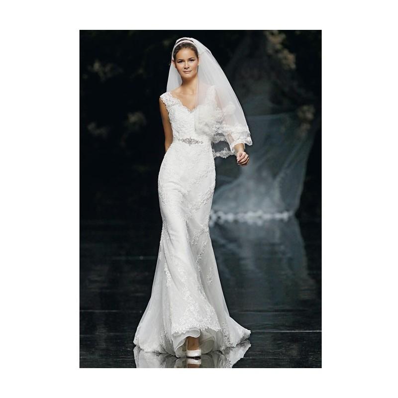 Свадьба - Pronovias - Spring 2013 - Sleeveless Lace Sheath Wedding Dress with V-Neckline - Stunning Cheap Wedding Dresses